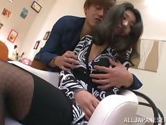 Japanese hottie gets her nylons ripped and fucked