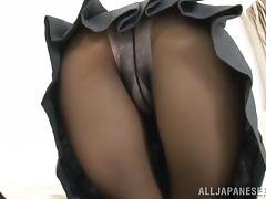 Hot Asian Mizuki Kioriya in Pantyhose and Uniform Sucks and Teases
