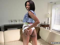 Adriana Malao Dazzling Ebony Babe Masturbates Her Wet Shaved Pussy