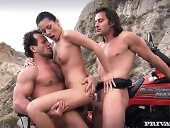 Stunning Vanessa May gets double penetrated in the mountains