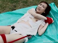 Tied Up Asian Kana Narimiya Gets Face Fucked and Facialized Outdoors