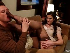 Gorgeous Samantha Ryan gets fucked in foot fetish video