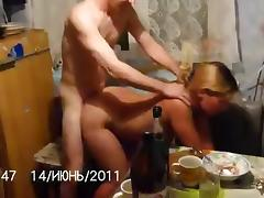 Russian couple fuck at kitchen porn video