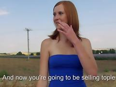 Czech girl Linda Sweet flashes her tits and drilled for money