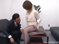 Fucking Tamaki Nakaoka in the Office in Her Sexy Pantyhose