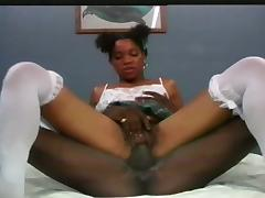 Chocolate taking charge on a black dick anal fuck