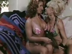 Sexy flexible milfs are licking shaved pussies in retro scene porn video