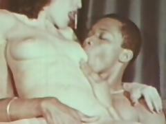 Retro scene with a hot interracial blowjob