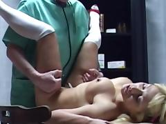 Adela is sucking a big dick of her doctor
