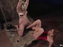 Nipple Torture with Electricity and Toying During Bondage Session