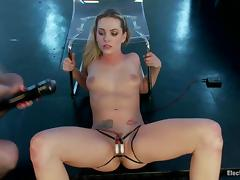 Sexy Bailey Blue gets whipped and toyed with electro dildo