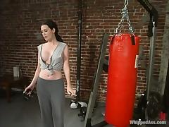 Cowgirl beats and tortures brunette female boxer Paige Richards