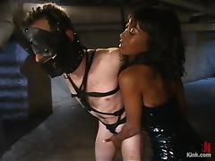 Ebony mistress whips and toys the guy in a basement porn video