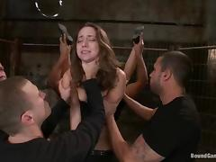 Slutty girl enjoys a gangbang and gets her face splattered with cum
