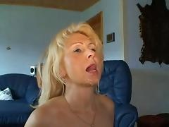 Pretty blonde MILF anal and facial