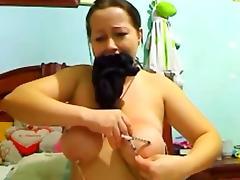 Big Tits Brunette Slave Is Obedient