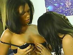 Two gorgeous lesbians practise scissoring after using a dildo