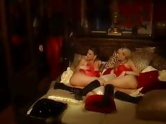 Two slutty flaxen-haired girls forth red skivvies win pounded by one toff
