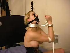 Lord it over hot together with sexy blondie is belted together with hogtied