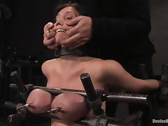 Claire Dames gets her boobs pressed increased by her abduct toyed porn video