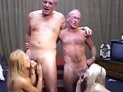 Old and Young, Blonde, Blowjob, Cum in Mouth, Foursome, Grandpa