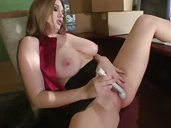 Big-tit blonde Cassandra Calogera and her dildo