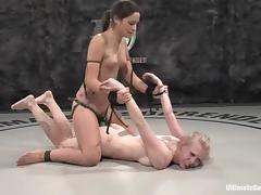 Wrestling, Blonde, Brunette, Catfight, Nude, Sport