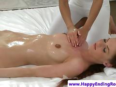 Oiled up rub-down model fondled off out of one's mind a masseuse
