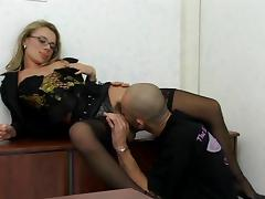 Office, Hairy, Office, Stockings