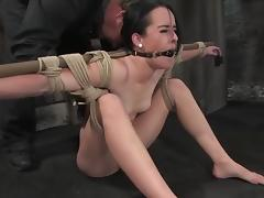 Horny brunette daunt is being suspended added to hogtied