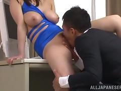 Busty Sayuki Kanno gets fucked in all positions in an office