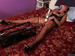 All, Dildo, Fishnet, Machine, MILF, Stockings