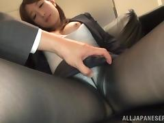 Anri Oonuki gets her hairy Japanese vag fingered and fucked hard