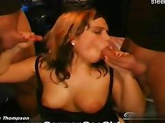 Beautiful housewife sucking