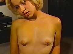 Stunning blond is rubbing a cock with no emotions