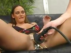 Sexy Venus gets her ass and pussy toyed with electric dildos