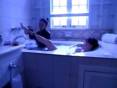 lesbian slave lick mistress feet in bath