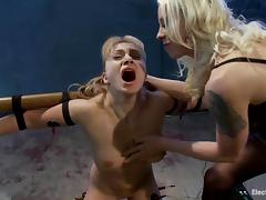 Tied up Lea Lexis gets wired and dominated by Lorelei Lee