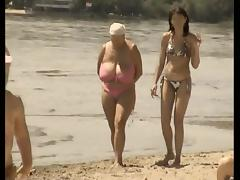 Retro big tits mix on Russian beach