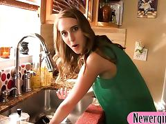 Horny gf Cadence Lux bent over and fucked in the kitchen