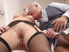 Grandpa, Blonde, Blowjob, Couple, Cute, Grandpa