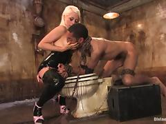 Lorelei Lee rides Mickey Mod's BBC after torturing the stud in BDSM scene