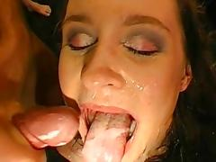 Bukkake video with a hardcore brunette