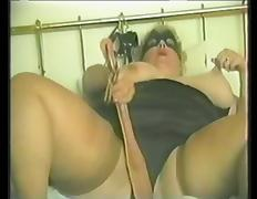BBW is nailed after masturbating in vintage clip porn video