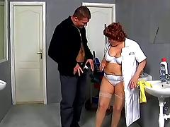 Chubby mature woman gets fucked hard in a bathroom