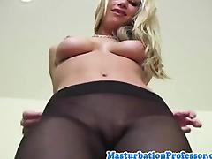 Nylon fetish babe rubbing her pussy