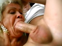 Two Horny Grannies Are Sharing One Stiff Cock In Wild Threesome