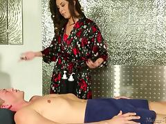 Massage, Blowjob, Brunette, Massage, MILF, Undressing