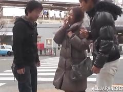 Asian milf has a threesome with two horny studs
