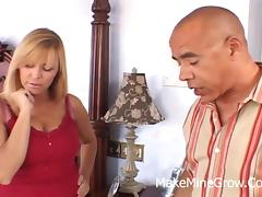Breathtaking blonde milf sucks on a black wiener